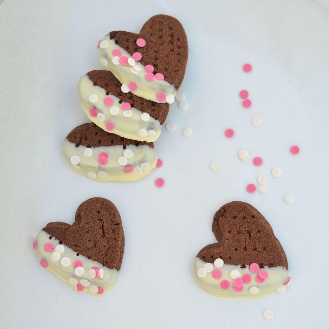 Chocolate Chip Shortbread Hearts