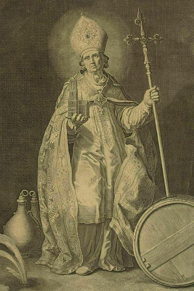 Engraving of St. Willibrord d'Utrecht by Cornelis Bloemaert