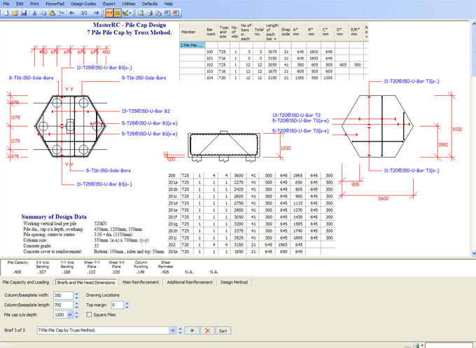 Masterrc Pile Cap Designer An Exclusive Software For Designing Detailing Of Normal Shaped Pile Caps Construction Cost