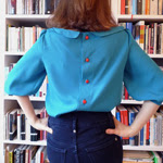 Teal Button Back Blouse