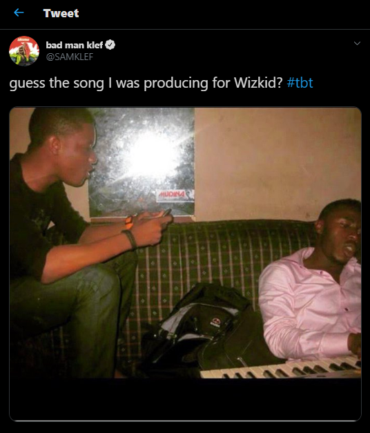 📣 Wizkid reacts to epic throwback photo of him shared by music producer, Samklef