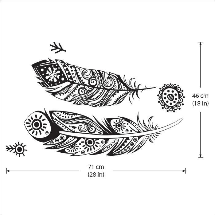 Birds Feather Tattoo Vinyl Wall Art Decal