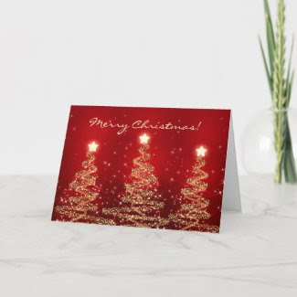 Merry Christmas Card Elegant Sparkling Trees Red