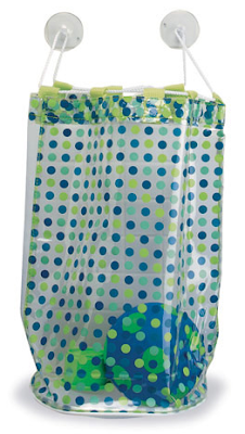 bath toy vinyl bag with blue polka dots