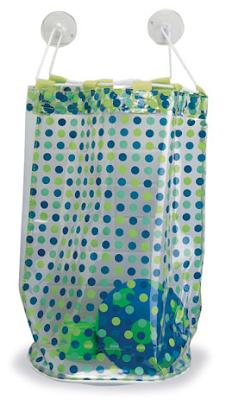 bath toy vinyl bag with blue polka dots
