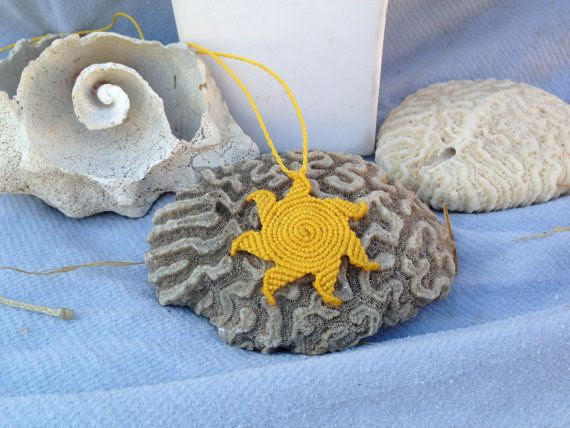 Yellow macrame sun necklace natural sunshine