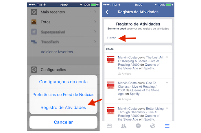 Acessando o Registro de Atividades do Facebook para filtrar as interações do usuários (Foto: Reprodução/Marvin Costa)