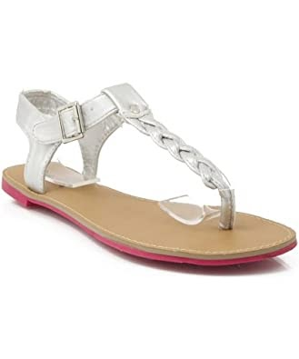 02f5359db302 Qupid Blink-133 Studded Thong Flat Sandals  Qupid Athena-503 Braided Thong  Flat Slingback Sandal SILVER reviews