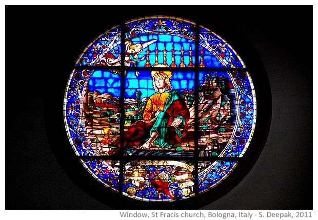 Blue stained glass window, Bologna, Italy - S. Deepak, 2011
