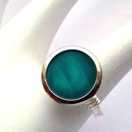 Silver plated turquoise button ring