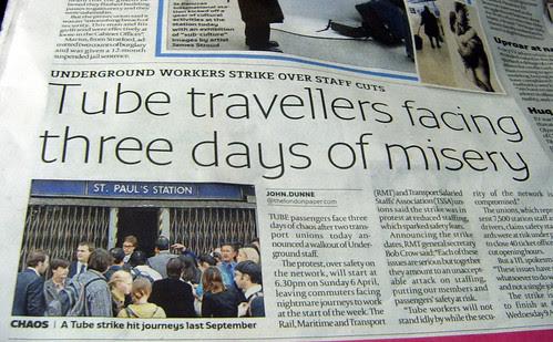 Tube Strike in the londonpaper
