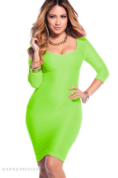 Montreal dress roll neck bodycon green neon fraser