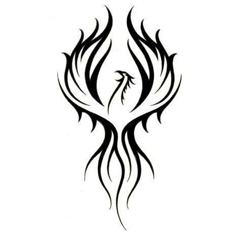 Amazing Black Tribal Phoenix Tattoo Design