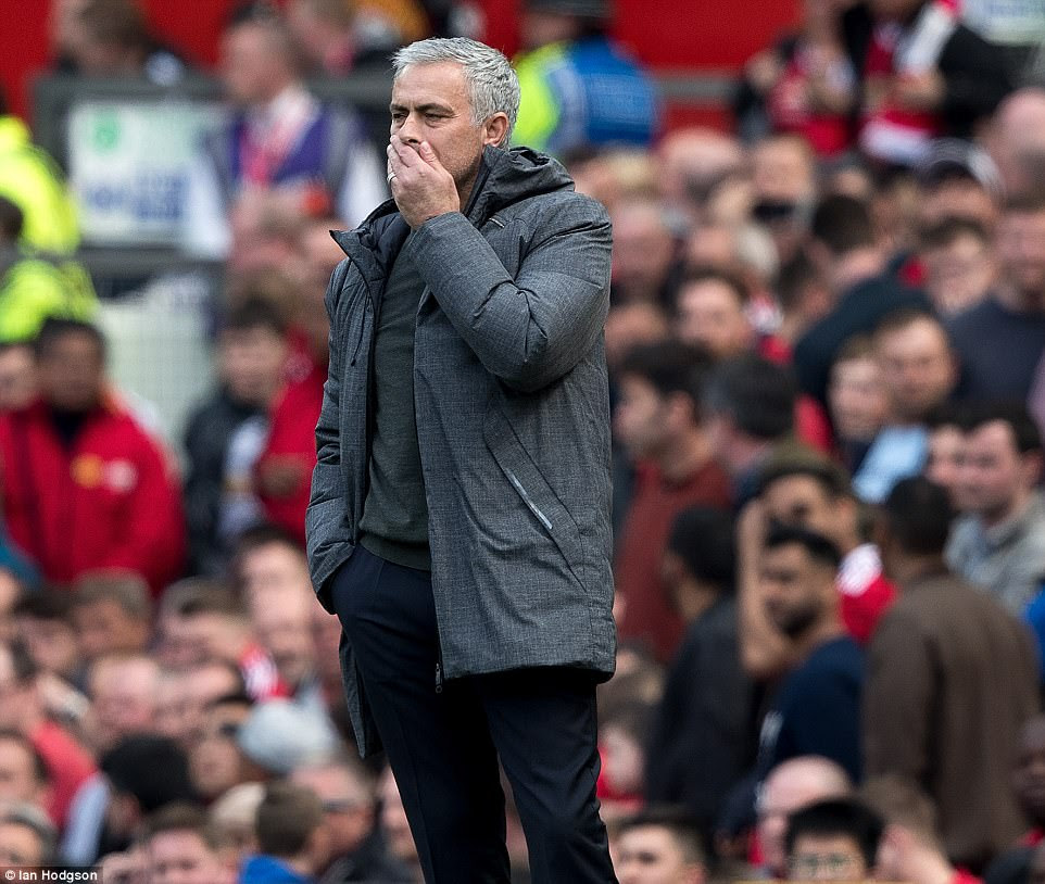 The United boss watches on as his side look certain to peter out to their 10th home league draw of the season - the most ever