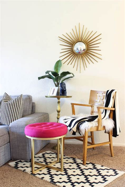 colorful mid century glam living room makeover classy