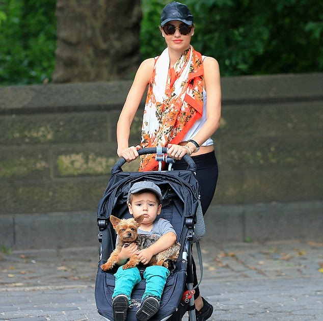 Her two gorgeous boys! Proud Miranda Kerr pushes toddler Flynn in his stroller as he cuddles her beloved Yorkshire terrier