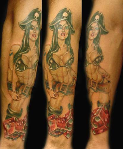 Pirate Pin Up Girl With Sword Tattoo Design In 2017 Real Photo