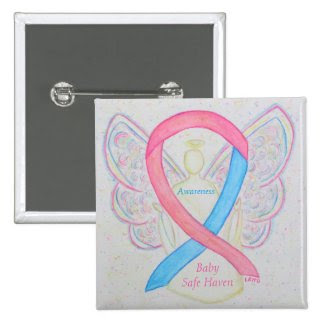 Baby Safe Haven Awareness Angel Ribbon Pin