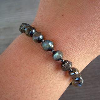 oxidized labradorite bracelet