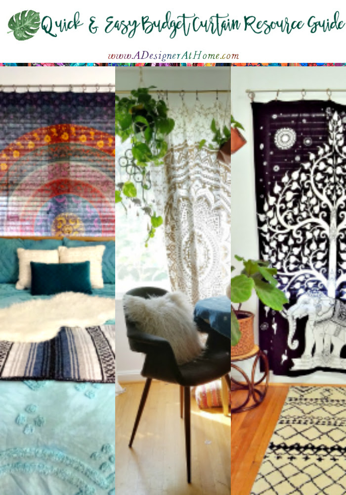 Quick and Easy Budget Boho Curtain Resource Guide - @adesignerathome