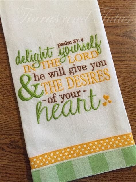 Kitchen Towel, Embroidered with Bible Verse, Linen, Bridal
