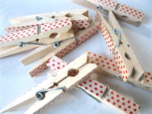 Red Polka Dot CLOTHESPINS - party or wedding favor, gift clip, snack clip, banner clip - Rustic Elegance