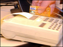 Credit card in use