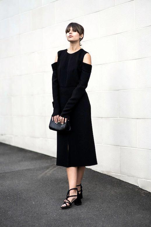 Le Fashion Blog Summer Blogger Minimalist Style Long Black Cold Shoulder Dress Clutch Chunky Heeled Sandals Via Badlands