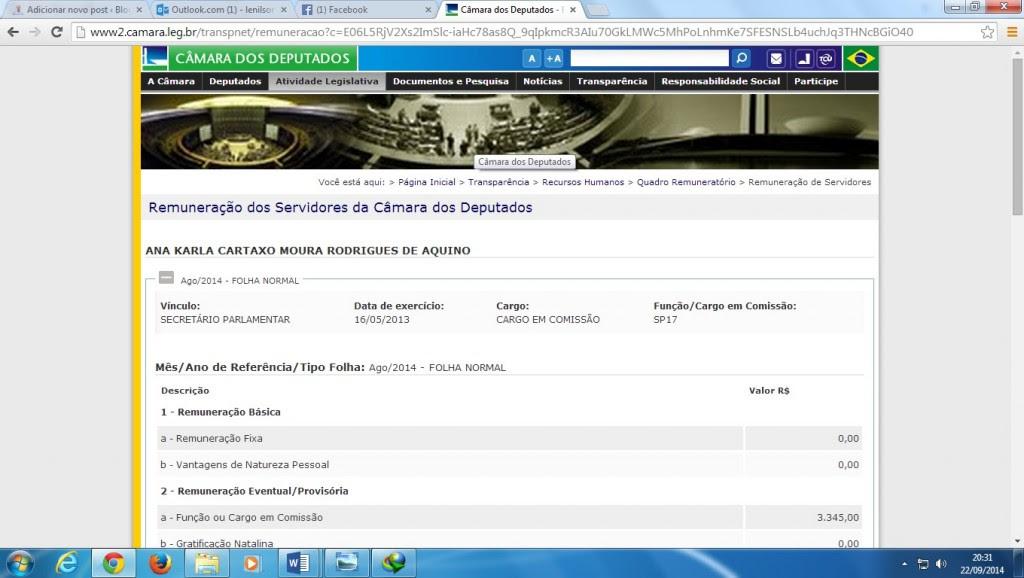 Contra - cheque de Ana Karla