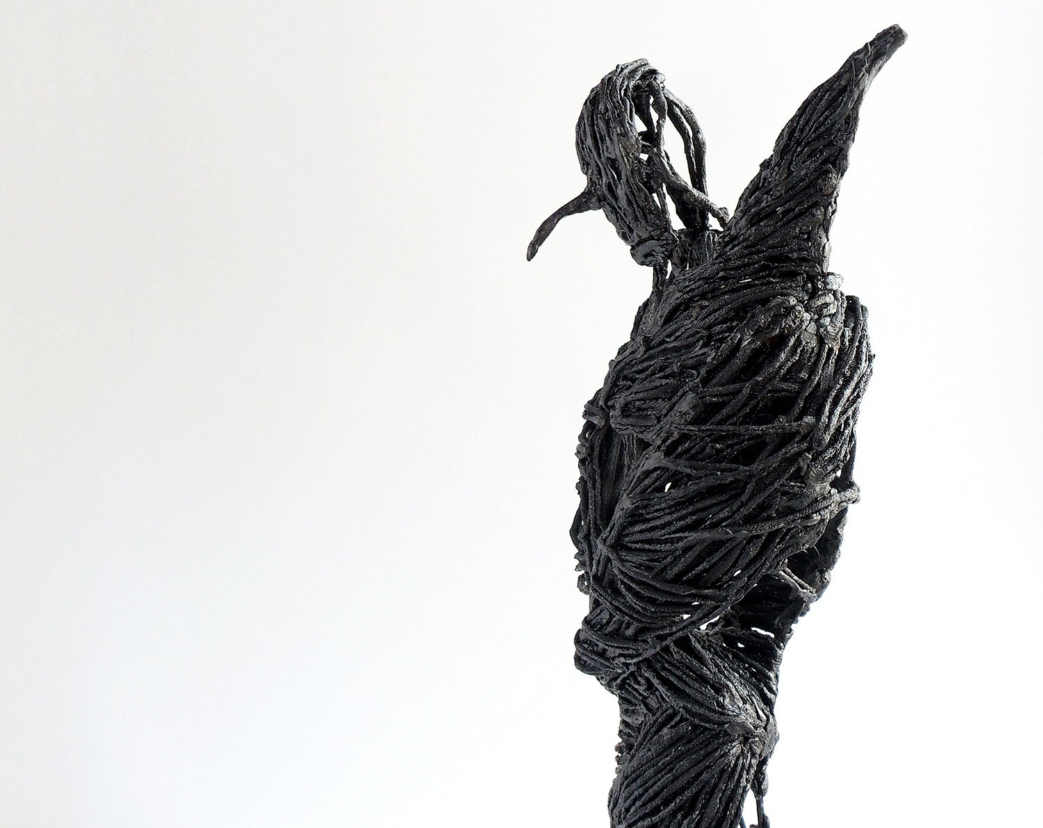Black sculpture singed fabric sculpture figurine art by OsikOsik