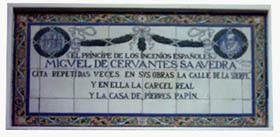 Imagen de Azulejo: Cervantes, Sierpes y la Cárcel Real