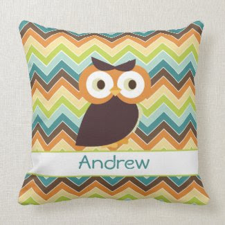Owl {chevron} Baby Pillow