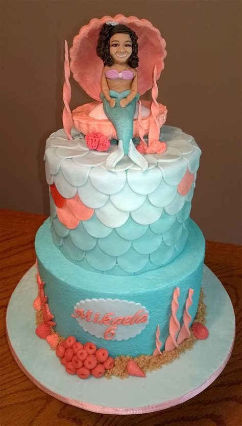 Teal And Coral Mermaid Cake   CakeCentral.com