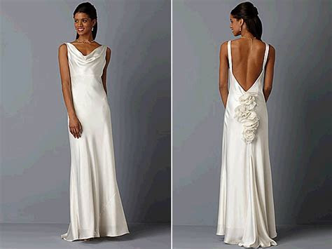 Ivory silk cowl neck wedding dress with open back