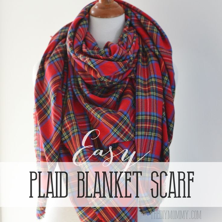 Make an Easy No Sew DIY Plaid Blanket Scarf | The DIY Mommy