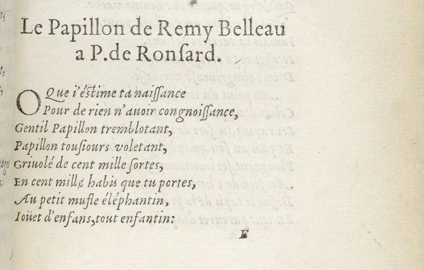 Le Papillon de Remy Belleau à P. de Ronsard, in Ronsard, Bocage, 1554. Gallica