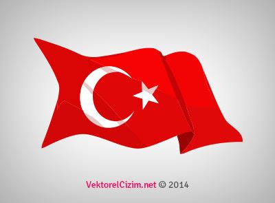 Vektörel çizim Dalgalanan Türk Bayrağı Ay Yıldız