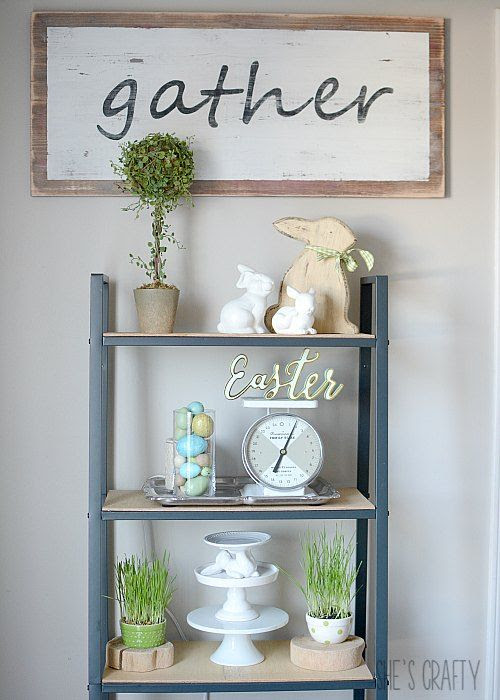 Spring Farmhouse shelving unit, wheat grass, bunnies