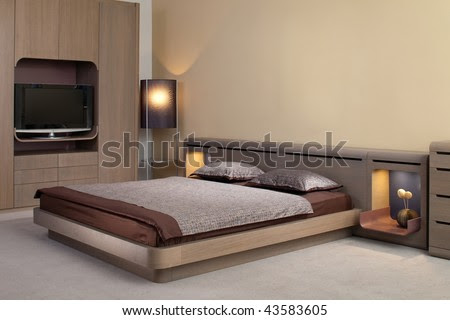 Beautiful And Modern Bedroom Interior Design. Stock Photo 43583605
