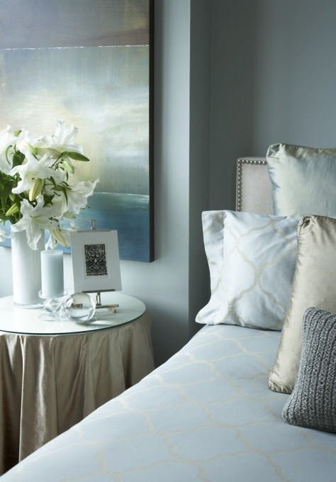 Blue Walls- Transitional - bedroom - Benjamin Moore Tranquility - HGTV
