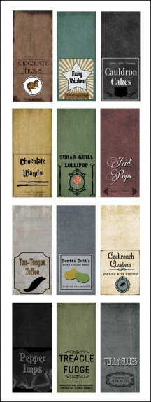 Etiquetas para chocolates y golosinas de Harry Potter.
