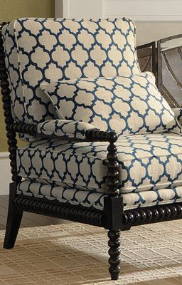 Custom Bobbin Chair in a great contemporary wake-up fabric.