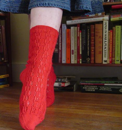 Crustacean socks modeled