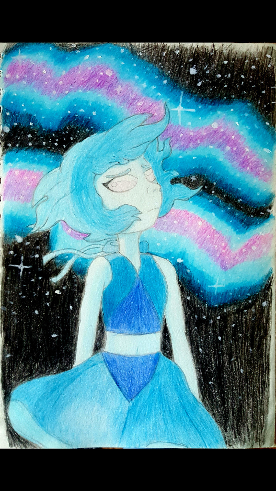colour pencil drawing of Lapis Lazuli from Steven Universe.