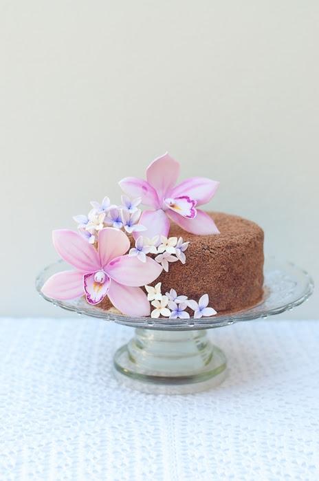 Орхидея из сахарной мастики для шоколадного торта с кокосовым кремом (3) (464x700, 164Kb)