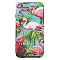 Cool Retro Pink Flamingos Tough iPhone 6 Case
