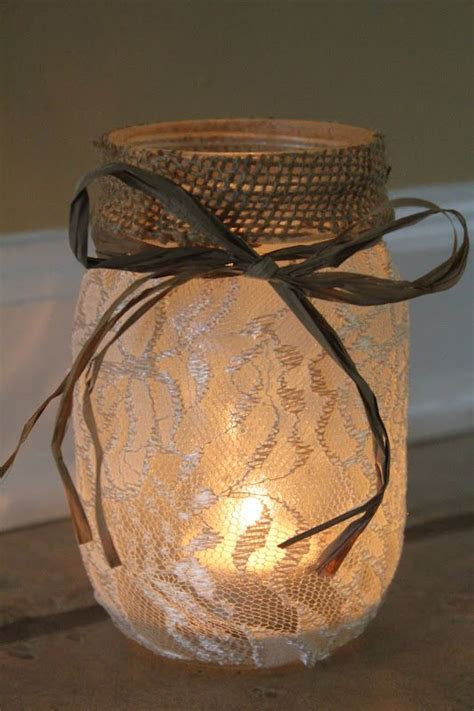 Lace Mason Jars on Pinterest   Burlap Mason Jars, Wedding