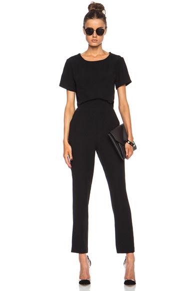 JONATHAN SIMKHAI|Cut Out Poly-Blend Jumpsuit in Black [1]