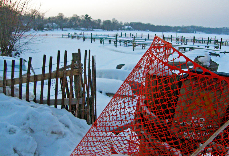 no trespassing & orange fence