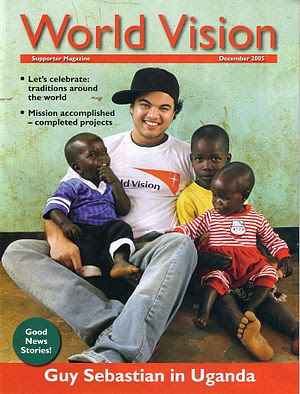 English: Guy Sebastian and African children. S...